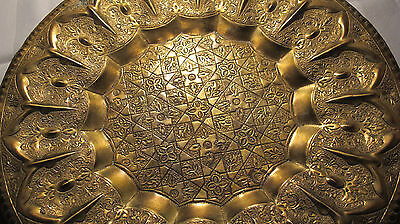 "Stunning Vtg LARGE 16"" Thick Heavy Brass Charger Dish Plate- Hand Hammered- RARE"