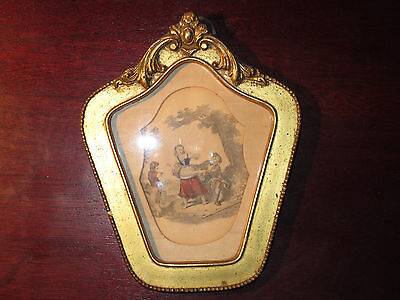 Antique Framed Art Gravure Hand Colored Small - Beauty - RARE