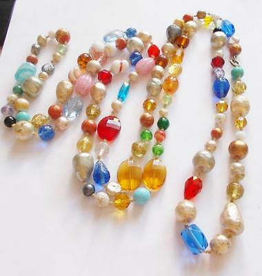 Vintage 50's Colourful Murano / Venetian & Art Glass Beaded Long Necklace Beads