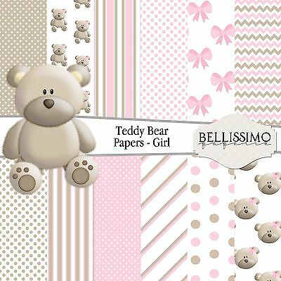 Pink Teddy Bear Scrapbook Papers, 12 Sheets, Custom Designs, Baby Girl