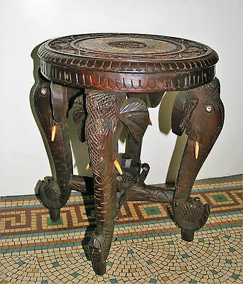 Antique Rosewood Table Plant Stand with 4 Elephant Head Legs Anglo Indian Period