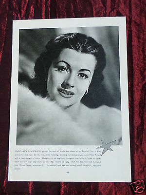 Margaret Lockwood- Film Star - 1 Page Picture - Clipping / Cutting -#4