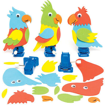 3 Racing Parrot Wind-up Kits for Children to Make - Creative Kids Craft Toy Set