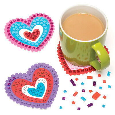 6 Kits of Foam Mosaic Heart Coasters for Children -Valentines Day Kids Craft Toy