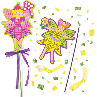 4 Fairy Mosaic Sticker Wand Kits for Children to Make - Creative Kids Craft Toy