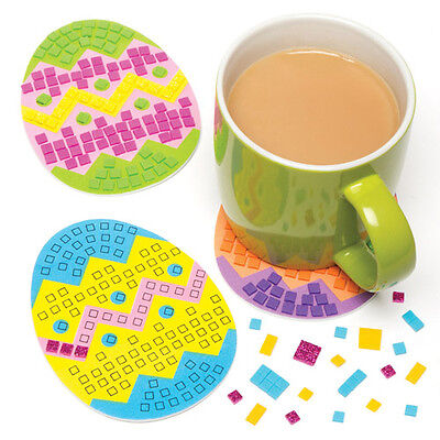 Foam Mosaic Egg Coaster Kit for Children - Kids Easter Craft Creative Set (6Pcs)