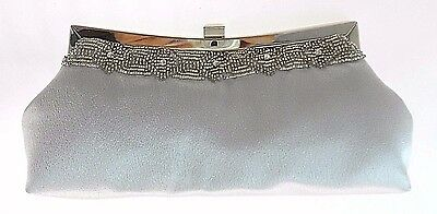 Carlo Fellini Silver Satin/bead Evening Clutch With Short& Long Chain $75.