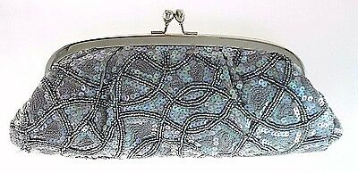 Carlo Fellini Silver Satin/bead/sequin Evening Clutch With Long Chain $79.