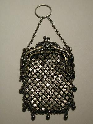 Antique Victorian Sterling Whiting Davis Chatelaine Mesh Change Purse