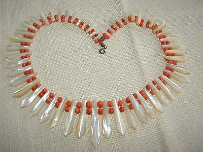 Victorian genuine CORAL & Mother of Pearl beads ~ Cleopatra ~ impressive