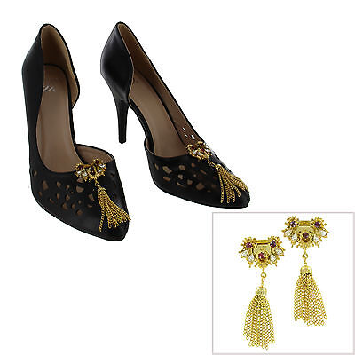 Vintage Shoe Clips Pair Red Clear Rhinestone Gold Tone Tassel Fringe