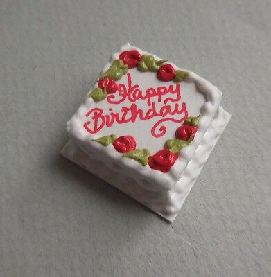 Marvelous Dollhouse Miniature Small Happy Birthday Cake With Red Roses Funny Birthday Cards Online Fluifree Goldxyz