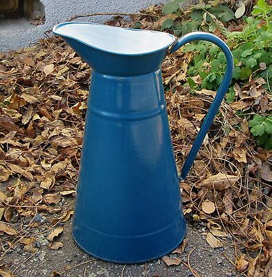 "Vintage French Dark Blue Enamel Pitcher 14"" Excellent Watertight Graniteware Jug"