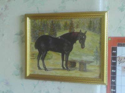 Vintage C.1980s Framed original Watercolour painting of Horse with Trees Behind