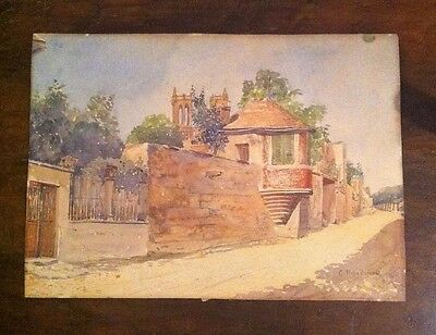 Bell'acquerello/ watercolor su cartoncino fine '800 firmato. Intatto. Entrate