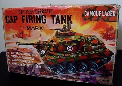 MARX Cap firing battery operated vintage tank toy with box