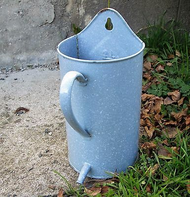 Vintage French Blue Enamel Irrigator Jug / Garden Planter / Utensil Holder