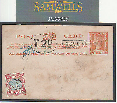 MS959 1893 Australia States VICTORIA *LOOSE LETTER* Stationery Card Postage Due