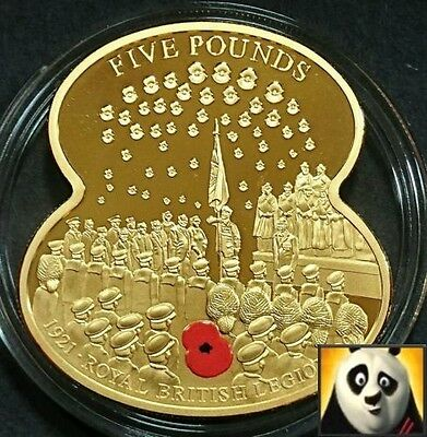 2011 GUERNSEY £5 Five Pound Coin Royal British Legion Poppy Gold Plated