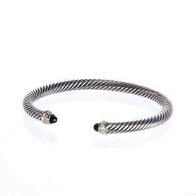 DAVID YURMAN Women's Cable Classics Bracelet with Black Onyx 5mm $625 NEW