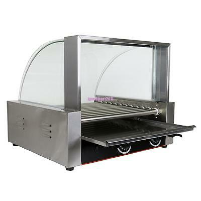 Portable Stainless Steel Glass Hood 30 Hot Dog 11 Roller Grilling Machine 2200W