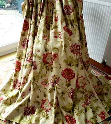 Laura Ashley Linen  Hepworth Cranberry Gold Ready Made Curtains New