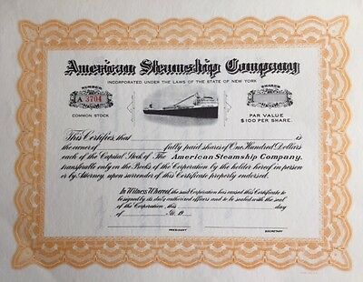 American Steamship Company Stock Certificate...unissued...
