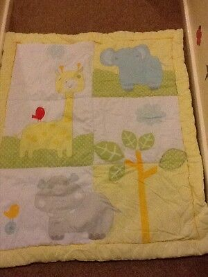 mothercare cot bed toddler bed duvet quilt 4 tog animals unisex yellow free post