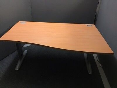 Large Wooden Office Curved Table - Detachable