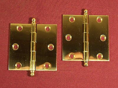 "Pair Small Hinge Cabinet Box Solid Brass Ball Tip 2 1/2"" x 2 1/2"" Antique Replac"