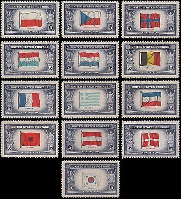 US #909-921 MNH Overrun Countries, complete set of 13 stamps, issued 1943-44