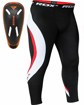 RDX Thermal Compression Pants Groin Cup Guard MMA Boxing Mens Tights Muay Thai O