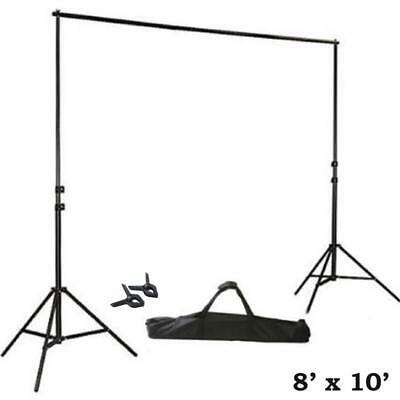 BLACK 8 x 10 ft Photo Backdrop Stand Kit Studio Stage Background Party Wedding