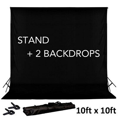 BLACK 8 x 10 ft Photo Backdrop Stand Kit + 2 Free Backdrops Studio Background