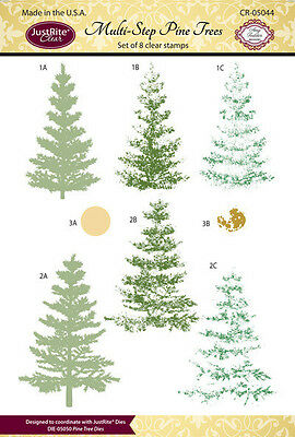 JUSTRITE CLEAR Stamps MULTI-STEP PINE TREES 8 Stamps CR-05044