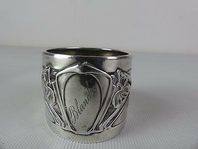 (Ref165CN) Solid Silver Art Nouveau Napkin Ring Marked 'Blanche'