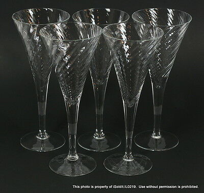 SET 5 CRYSTAL Optic SWIRL CHAMPAGNE FLUTES Clear Trumpet Shaped Goblets