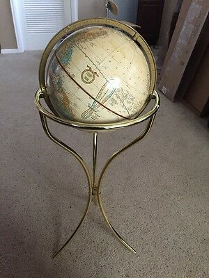 12 Inch Cram's Imperial World Globe With Gold Metal Pedestal Floor Stand
