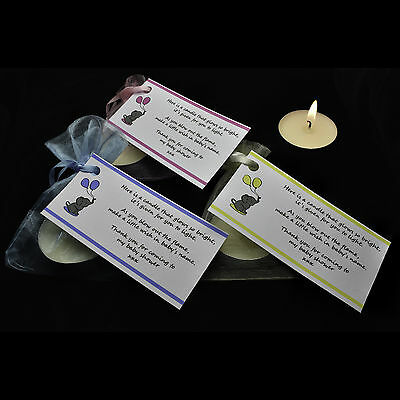 Baby Shower Candle Tea Light Favours Pink Blue Yellow Guest Thank You Gifts