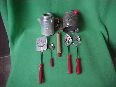 Red Handle Childrens Toy Utensils 1960's 70's