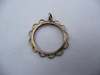 Super Vintage 9Ct Solid Gold Diamond Cut Style Half Sovereign Coin Pendant Mount
