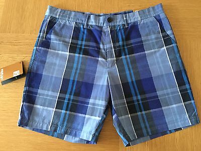 Farah Blue Check Cotton Golf Shorts Waist 32 Bnwt