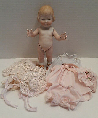 "Cutest 8.5"" Antique Heubach All Bisque Girl/bobbed Hair/intaglio Eyes; Clothes"
