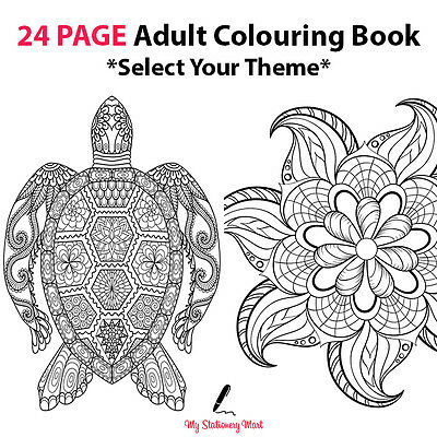 Adult Colouring Book Therapy Book 24 Page Garden Animal Tribal Colourful Theme