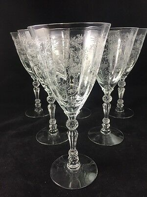 "Fostoria CHINTZ 7 5/8"" Etched Water / Wine Goblet Glass, up to 11 avalable"