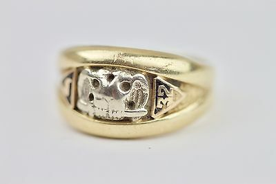 Solid 14k Yellow Gold Heavily Worn 32nd Degree Masonic Ring 10 Grams Size 8.25