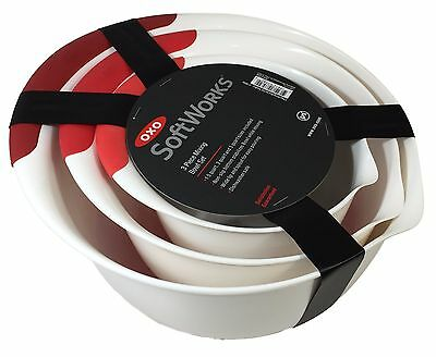 OXO GOOD GRIPS 3-PIECE NON-SLIP BOTTOM MIXING BOWL SET - SOFTWORKS Red - NEW