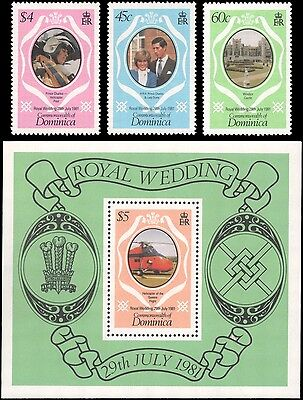 Dominica #701-704 set MNH s/s and singles