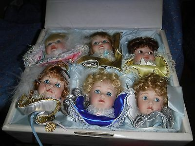Set of Six Ashton Drake Wishing on A Star Doll Face Ornaments Unused to Gently U