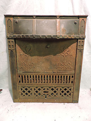 Antique Late 1800's Cast Iron Ornate Gas Fireplace Insert Tin Summer Cover